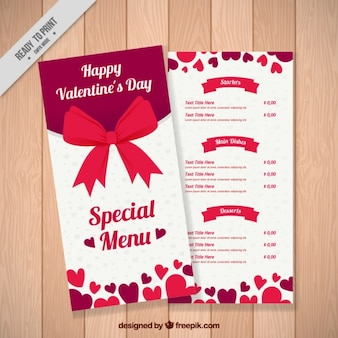 Special valentine's menu with red bow