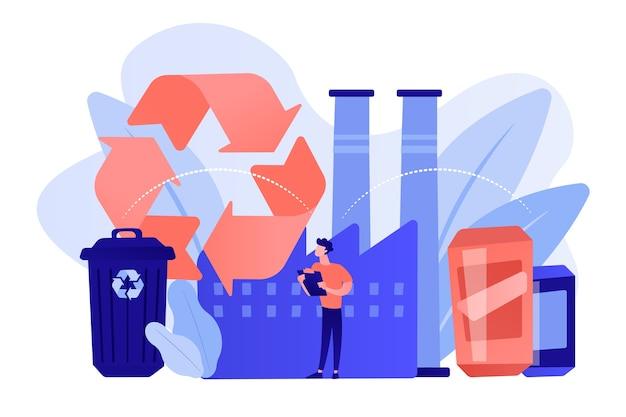 Специалист на заводе по переработке пластика в сырье, мусорный бак. механическая переработка, обратная переработка пластмасс, концепция повторного использования отходов. розовый коралловый синий вектор изолированных иллюстрация