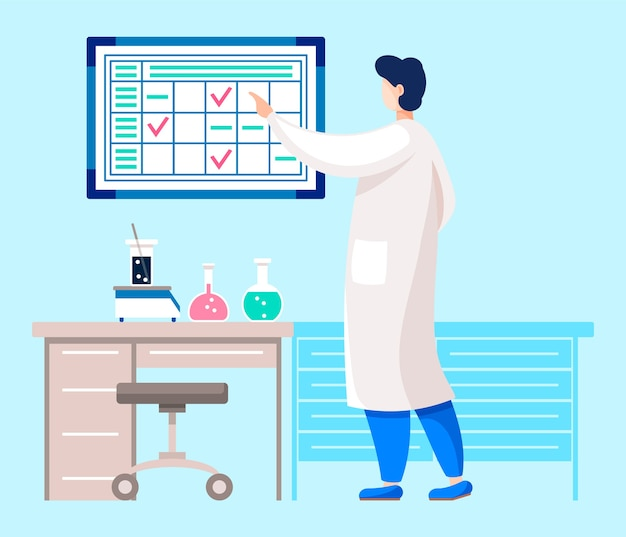 Specialist or doctor conducting researches in laboratory.