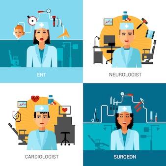 Specialist doctors concept set