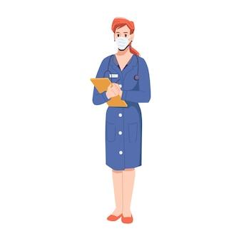 病院や診療所で働く女性の医療分野のスペシャリストマスクを身に着けている女性と