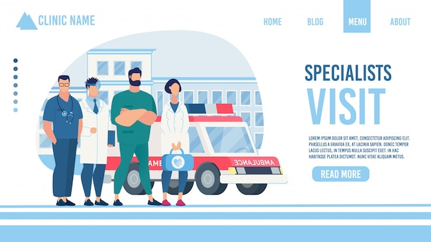 Specialist visit service clinic flat landing page