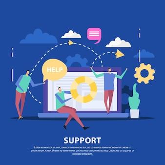 Специалисты центра поддержки клиентов и ноутбук как устройство связи на синем фоне плоской иллюстрации