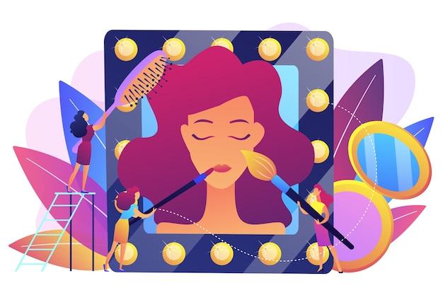 여성의 얼굴과 머리카락에 미용 치료를 제공하는 전문가. 미용실, 미용실, 전문 미용 치료 개념.