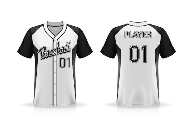 白い背景に分離された仕様野球tシャツモックアップ、デザインのためのシャツの空白スペース、要素またはテキストを配置するシャツ、印刷のために空白、ベクトルイラスト