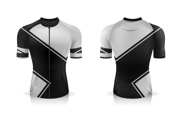 Спецификация велоспорт джерси шаблон. макет спортивная футболка с круглым вырезом униформа для велосипедной одежды.