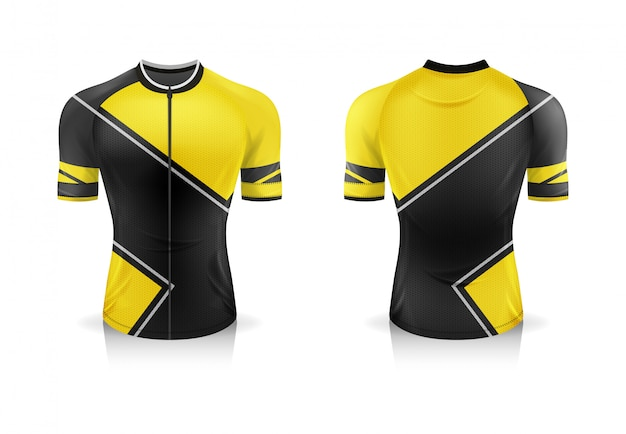 Спецификация велоспорт джерси шаблон. спортивная футболка с круглым вырезом для велосипедной одежды. отдельные рабочие слои.