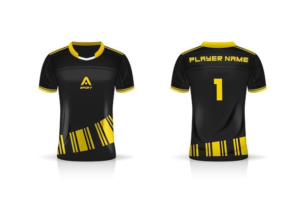 Спецификация soccer sport, esports gaming t shirt jersey шаблон. униформа.