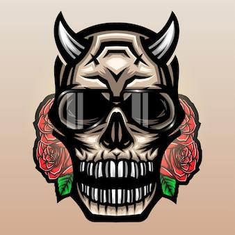 Очковый крутой череп дьявола с розами.