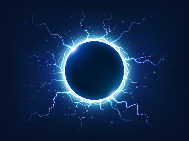 Spectacular electricity thunder shining spark and lightning surround blue electric ball.