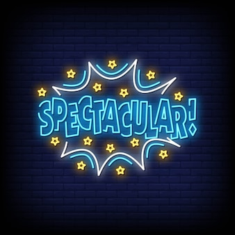 Spectacular neon signs style text