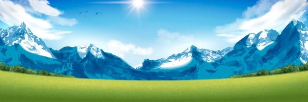 壮大な雪山の風景、魅力的な山と緑の野原のある風景の向き