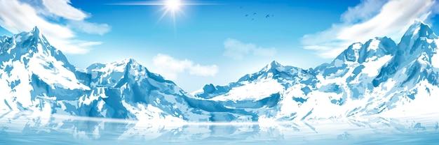 Захватывающие снежные горные пейзажи, ландшафтная ориентация с красивыми горами и озером