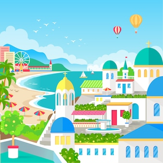 Spectacular view of resort town with long beach illustration