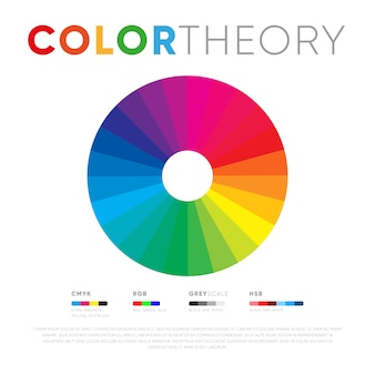 Spectrum of color theory on white background