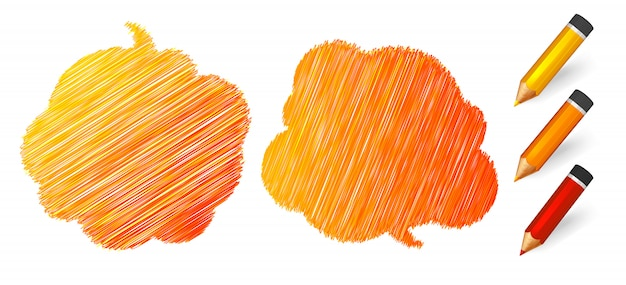 주황색 연필에 그려진 스피치와 생각 거품
