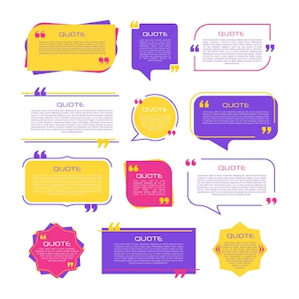Speech  balloon with quotation marks think speak talk commas quote frames blank templates set on white background bubble comment message borders boxes banners remark