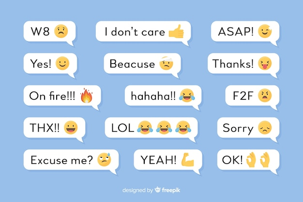 Speech balloons with messages and emojis