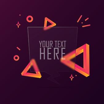 Речи пузырь баннер с пустым текстом. стиль глассморфизм. для бизнеса, маркетинга и рекламы. вектор на изолированном фоне. eps 10.