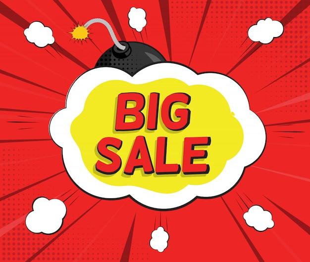 Большой баннер для продажи с speech bubble и bomb в стиле поп-арт