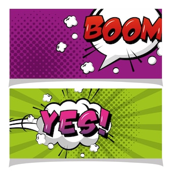 Speech bubble boom and yes banners pop art comic book