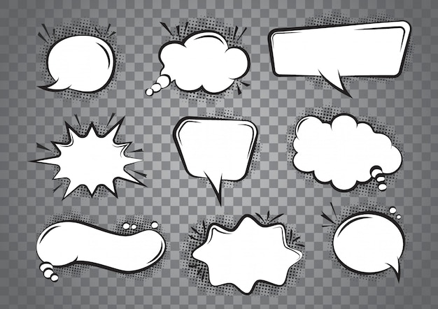 Speech bubble cartoon set