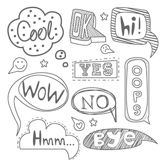 Speech bubble collection. black and white set