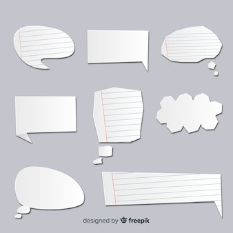Speech bubble collection in paper style with lines