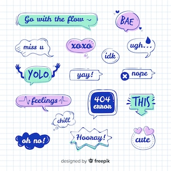 Speech bubble collection with messages