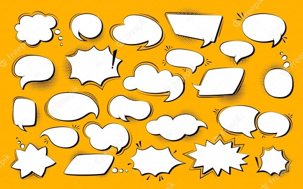 Speech bubble comic pop art set. retro empty design elements dialog clouds halftone dot background