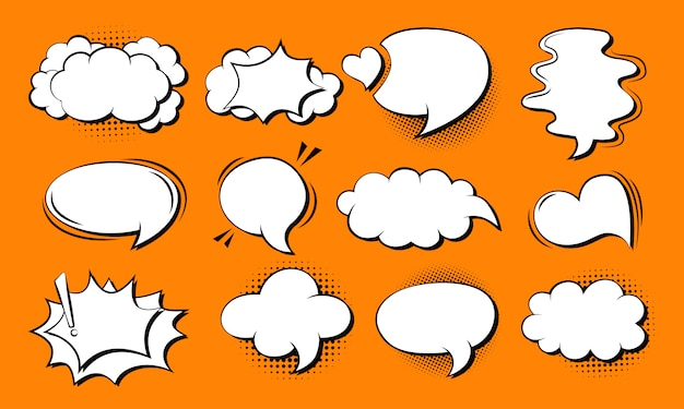 Speech bubble comic set. retro cartoon pop art 80s-90s design. speech thought blobs comics book.