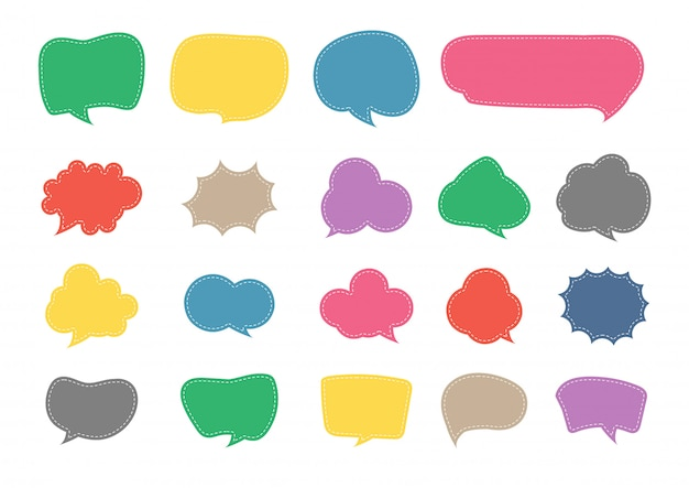 Speech bubble cut paper design set