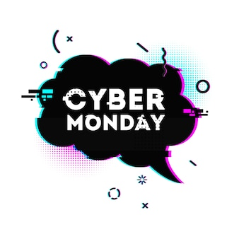 Speech bubble for cyber monday offer.
