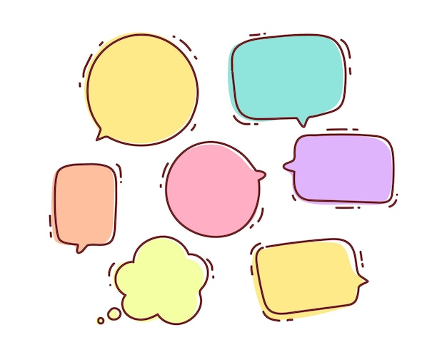 Speech bubble doodle chat message dialog talk shape or symbol hand drawn cartoon art illustration