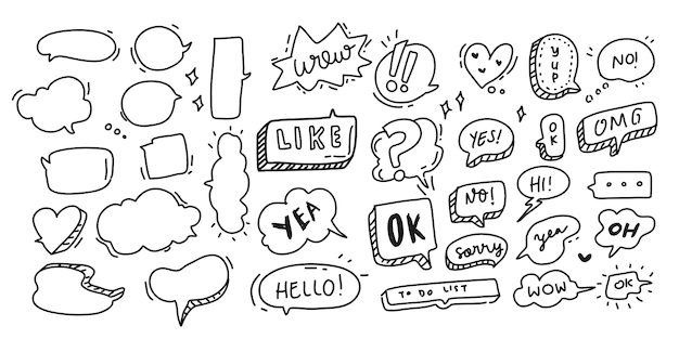 Speech bubble hand drawn big collection