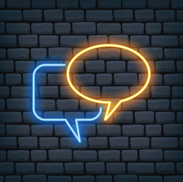 Speech bubble in neon effect vector illustration