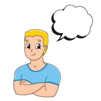 Речи пузырь разной формы. сильный улыбающийся молодой человек.