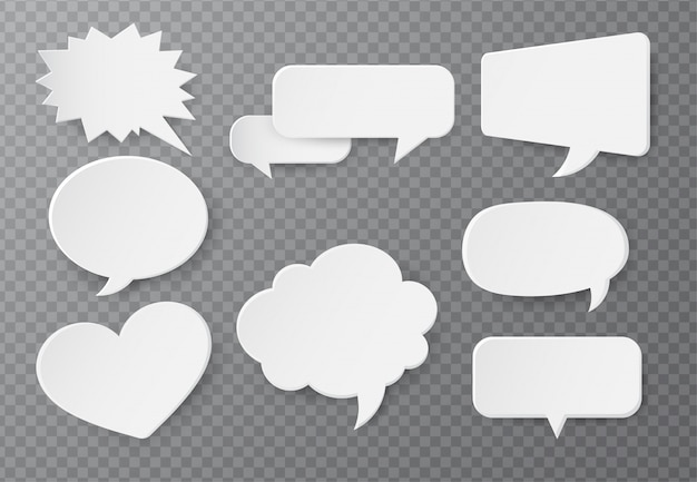 Speech bubble of paper for text input