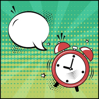 Speech bubble and red alarm clock. comic sound effects in pop art style