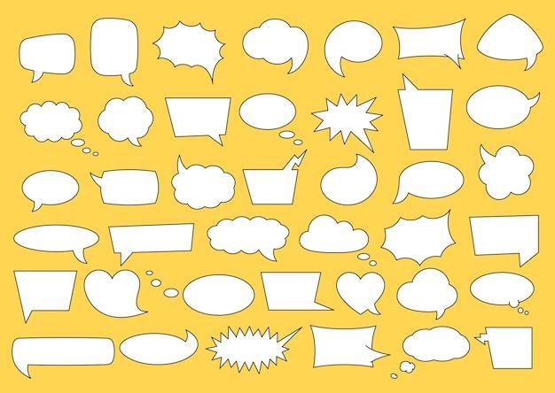 フレーズのためのスペースで設定された吹き出し。ライン漫画コミックの泡と音声フレーズ、会話テキスト、孤立した図の単語のさまざまな形の雲。