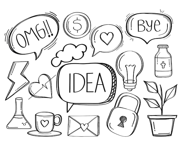 Speech bubble social media doodle style icon