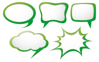 Speech bubble template with green frame
