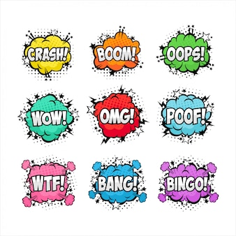 Speech bubble text pop art style collection