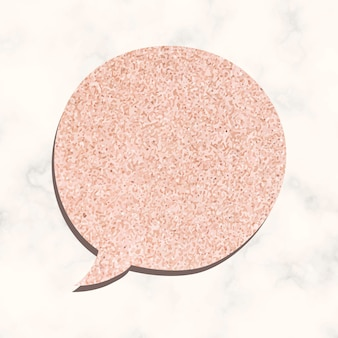 Speech bubble vector in glitter pink texture style