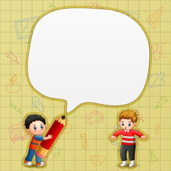 Speech bubble with boys and yellow background