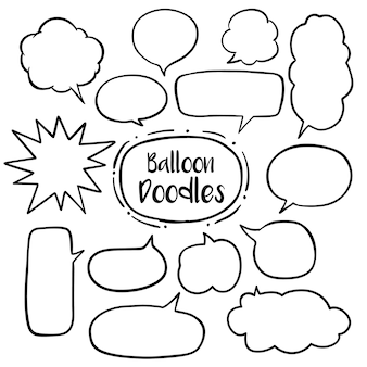 Speech bubble with hand drawn doodles set