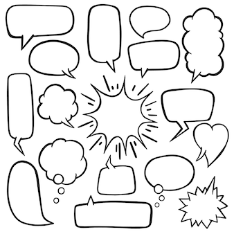 Speech bubble with hand drawn doodles vector