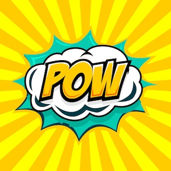 Speech bubble with pow text in comic style