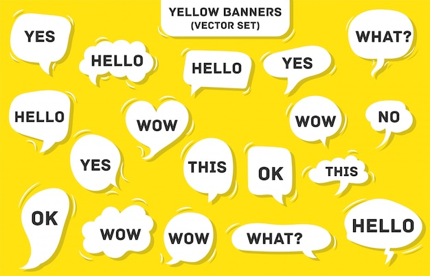 Speech bubble on yellow. yes, this, wow, what, hello, ok.