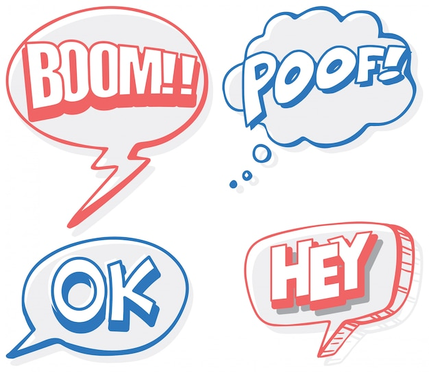 Speech bubbles banner for four words